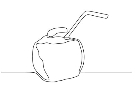 Continuous one line drawing of Beach cocktail linear coconut drink. Thin hand drawn illustration. Pina colada cocktail. Ilustracja