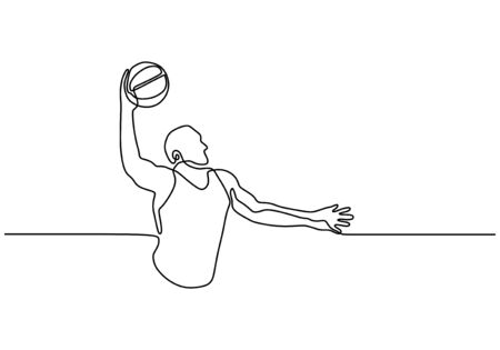 Continuous one line drawing of basketball player. Person as athlete playing basket game sport. Banco de Imagens - 134704897