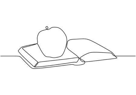 Continuous one line drawing of book with apple vector. Concept of study and education symbol object design. Banco de Imagens - 135121016