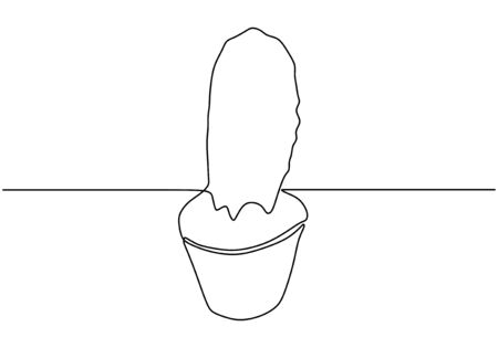 Continuous one line drawing of cactus on the pot. Plant minimalism design vector illustration isolated on white background. Ilustracja