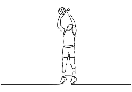 Continuous one line drawing of basketball player. Person as athlete playing basket game sport.