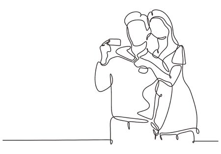 Continuous one line drawing of man and woman or couple holding credit card. 写真素材 - 135314230
