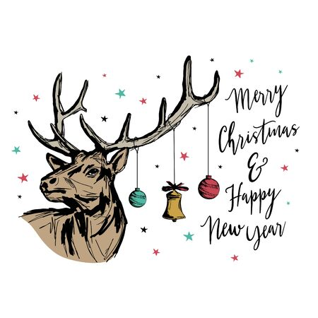 Vintage Christmas and new year greeting card with reindeer. Grunge texture sketch hand drawn lettering typography style vector illustration on white background. Banco de Imagens - 135316306