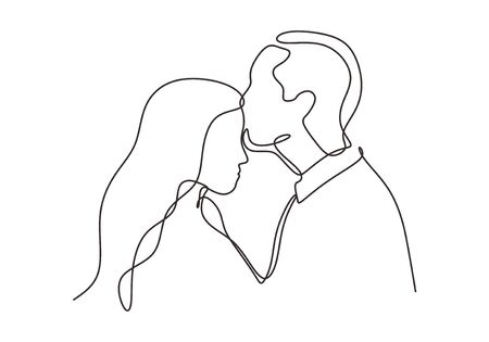 Continuous one line drawing of couple in love. Man kiss to a girl or woman in romantic situation. Vector minimalism design.