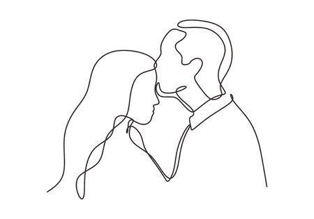 Disegno continuo di una coppia innamorata. Bacio dell'uomo a una ragazza o una donna in una situazione romantica. Disegno vettoriale minimalismo.