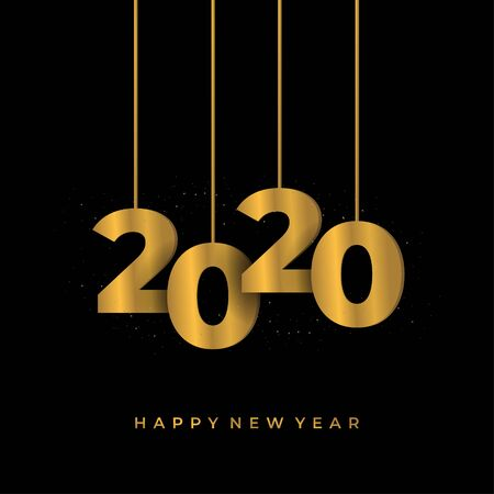 Happy 2020 new year golden banner. Vector illustration template with hanging numbers gold colors on black background. Ilustração