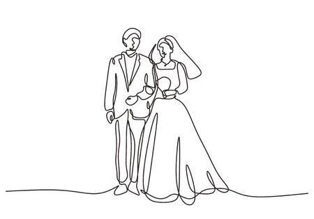 Continuous one line drawing of wedding couple. Man and woman standing with dress and gown.
