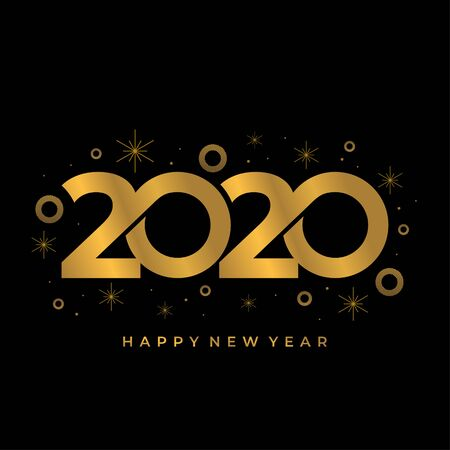 Vector 2020 new year greeting design banner card. Gold colors numbers with trendy and luxury decoration. 写真素材 - 135316317