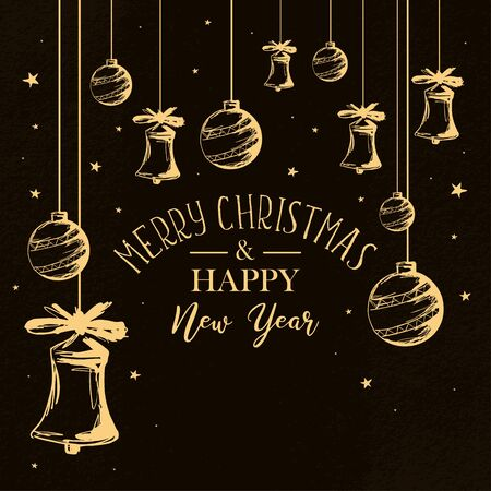 Christmas and new year greeting banner with hand drawn sketch decoration and lettering typography. Vintage celebration poster illustration with bells and balls decoration. Ilustração
