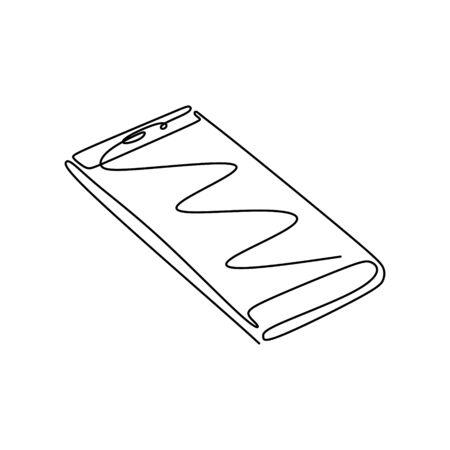Phone or smartphone one line drawing minimalism design vector illustration. Gadget technology theme. Banco de Imagens - 135388195