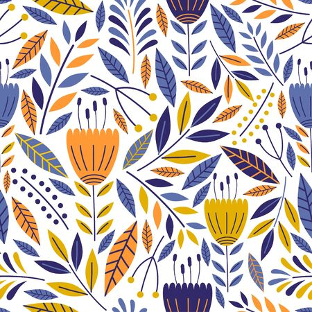 Seamless pattern with flowers for design. Small colorful multicolor flowers decoration on white background. Vector illustration floral elegant for fashion textile print. Ilustração