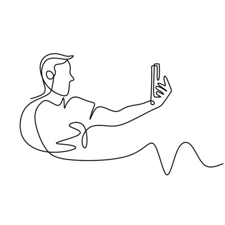 Continuous line drawing of man selfie with mobile phone or smartphone camera. Hand holding gadget concept. 写真素材 - 135388305