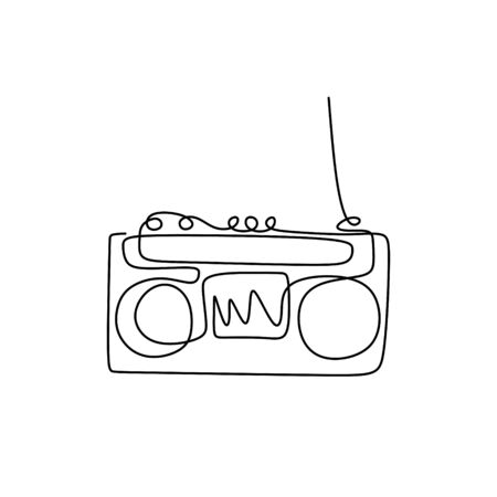 Continuous one line drawing of old radio tape recorder ghetto music 80s retro design. Vector illustration vintage theme. Banco de Imagens - 135389090