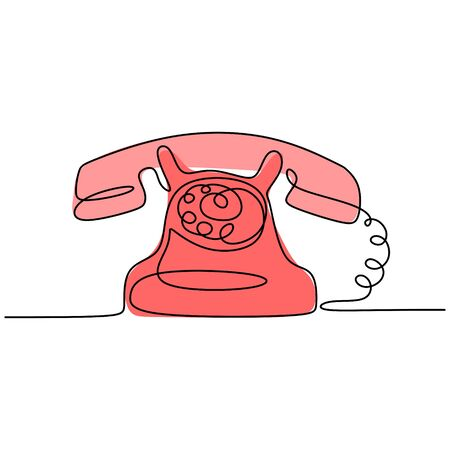 Continuous one line drawing of old telephone vintage 80s, 90s style. Vector retro minimalism design with color. Banco de Imagens - 135389760