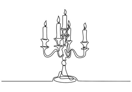 Continuous one line drawing of burning candle on chandelier. Banco de Imagens - 135388924