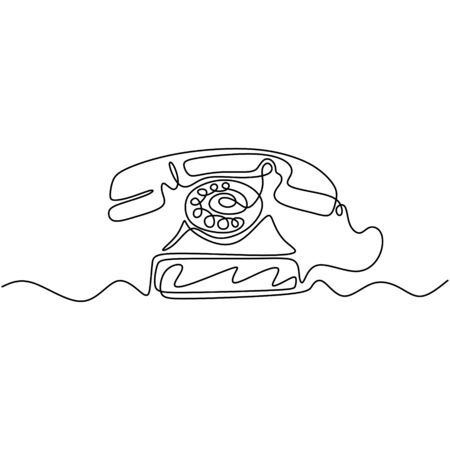 Vintage telephone old style with Continuous one line drawing. Minimalism retro design. 写真素材 - 135389902