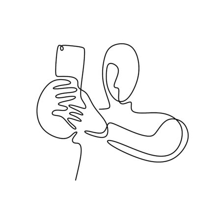 Person selfie one line drawing. Man taking a picture with smartphone or mobile phone camera. Concept of narcissist and technology design. 写真素材 - 135388932