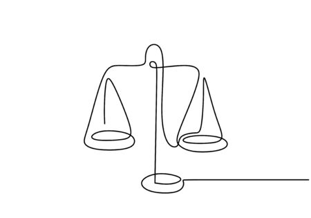 Continuous one line drawing of law weights. Scale of metal vector minimalism design. Foto de archivo - 135388934