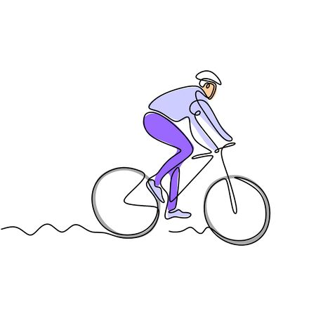 Continuous one line drawing of person athlete riding bicycle or bike with colors 写真素材 - 135389725