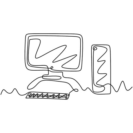 Continuous one line drawing of computer and monitor minimalism design. Banco de Imagens - 135388941