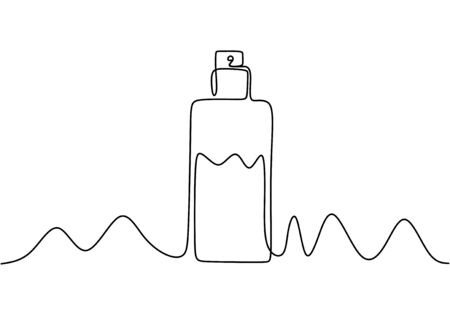 Continuous one line drawing of perfume cosmetic bottle. Minimalism vector isolated on white background. Banco de Imagens - 135387897