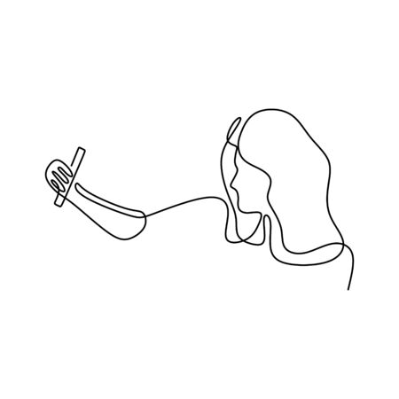 One line drawing of girl selfie. Woman taking a picture with camera mobile phone or smartphone. Gadget technology theme design minimalism. Banco de Imagens - 135387455