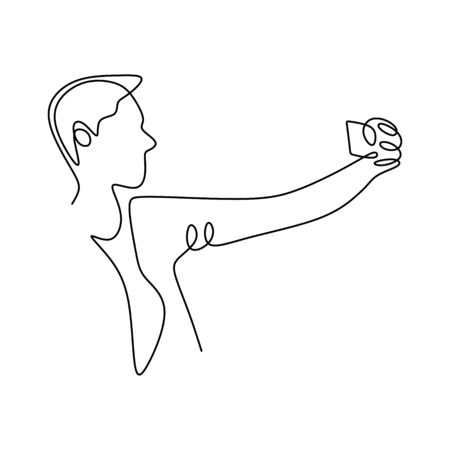 Person selfie one line drawing. Man taking a picture with smartphone or mobile phone camera. Concept of narcissist and technology design. 写真素材 - 135384865