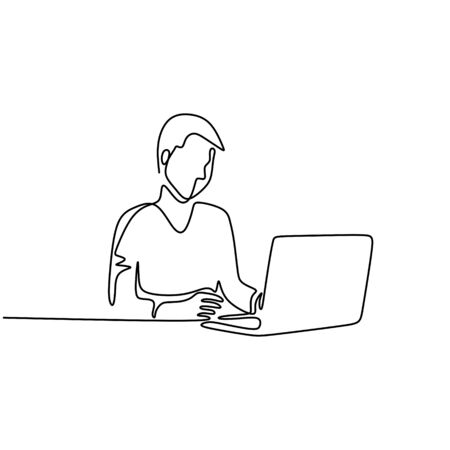 One line drawing of man working with laptop computer vector business theme. Person sitting and doing job task. Minimalism hand drawn sketch lineart style. Ilustração