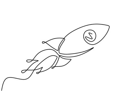 Rocket One line drawing. Spaceship concept vector minimalism style. Single sketch lineart. Banco de Imagens - 135382933