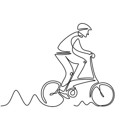 Continuous one line drawing of biker. Person riding bmx, bicycle motocross or bike. Concept of athlete with sport theme design. Banco de Imagens - 135383361