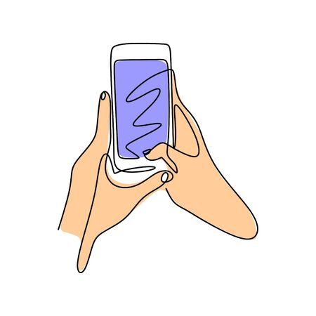 hand holding smartphone One line drawing continuous style. Minimalism cell phone design vector illustration simplicity artwork. 写真素材 - 135383583