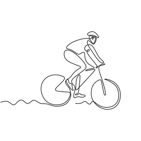 Continuous one line drawing of biker. Person riding bicycle or bike. Concept of athlete with sport theme design. Banco de Imagens - 135383586