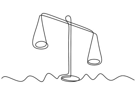 Weight balance symbol. Libra or law identity one line drawing style vector illustration. Unbalance object. 写真素材 - 135383063