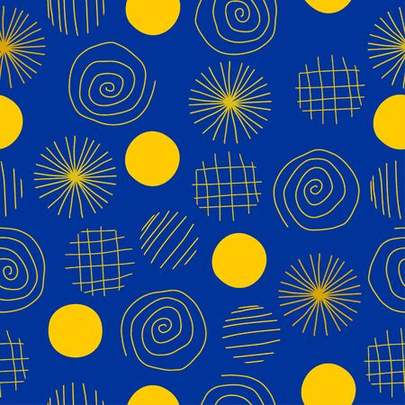 Circle abstract seamless pattern with hand drawn. Vector geometric circles for fashion illustration and textile print. 写真素材 - 135381886