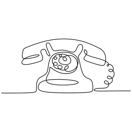 Vintage telephone old style with Continuous one line drawing. Minimalism retro design. Banco de Imagens - 135384196