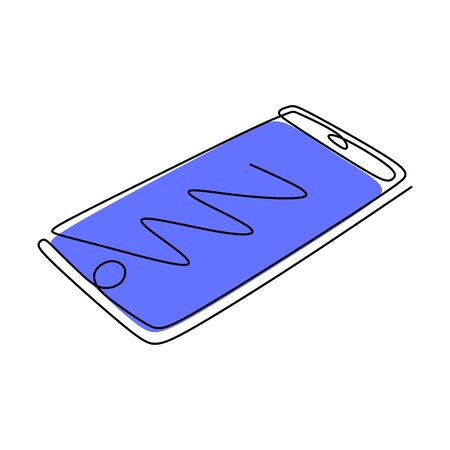 Phone or smartphone one line drawing minimalism design vector illustration. Gadget technology theme.