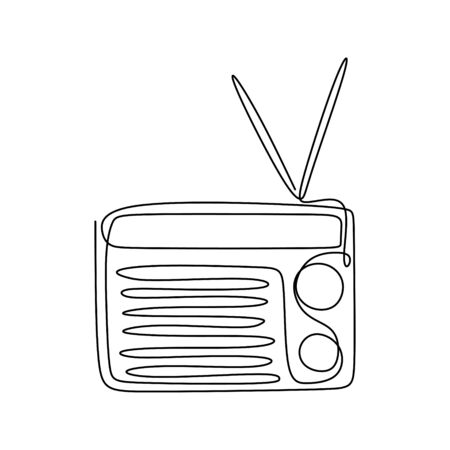 Continuous one line drawing of fashioned radio with retro vintage design. Banco de Imagens - 135384030