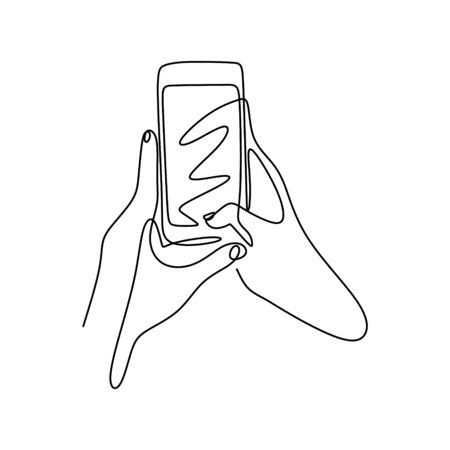 Continuous one line drawing hand holding smartphone or mobile phone. Concept of technology gadget vector minimalism illustration. Banco de Imagens - 135384031