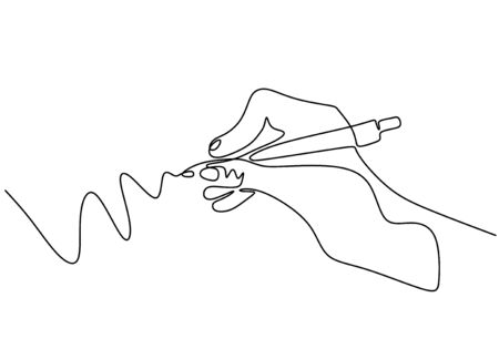 Continuous one line drawing of hand writing with ink pen or pencil. Vector minimalism design.