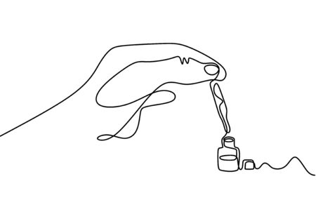 Continuous one line drawing of hand holding glass pipette. Essential oils bottle minimalism design vector.