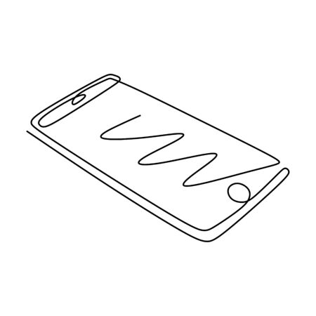Continuous one line drawing of mobile phone or smartphone gadget.