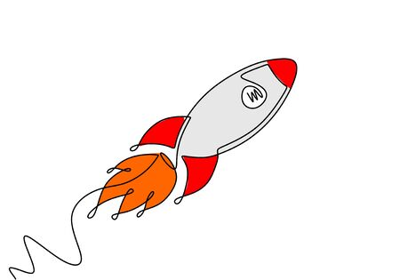 Rocket Continuous one line drawing with colors. Banco de Imagens - 135383243