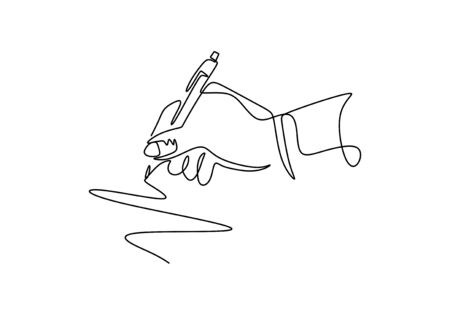 Continuous one line drawing of hand writing with ink pen or pencil. Vector minimalism design. 写真素材 - 135383362