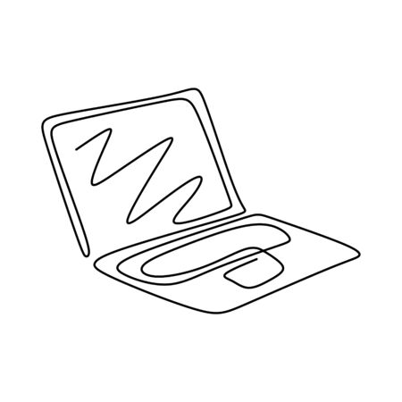 Continuous one line drawing of laptop computer gadget. 写真素材 - 135383087
