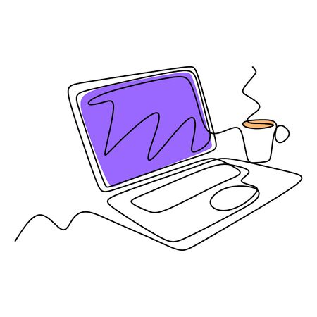 Continuous one line drawing of laptop computer with coffee. Symbol of working creative. Metaphor business of relaxation and creativity smart work.