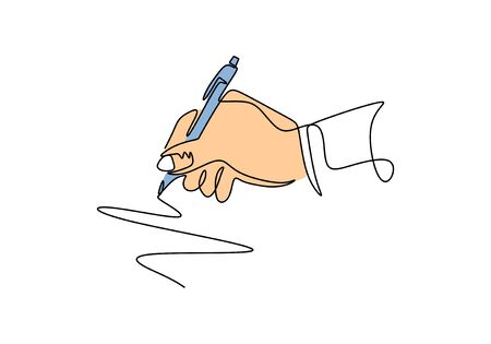 Continuous one line drawing of hand writing with ink pen or pencil. Vector minimalism design. 写真素材 - 135384877