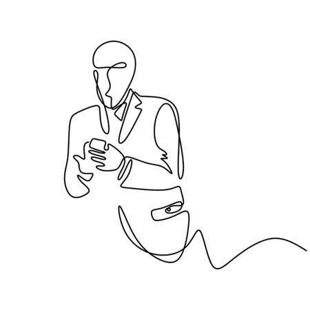 One line continuous drawing of businessman holding and touching smartphone. Gadget mobile phone technology theme for business metaphor style. Concept of job working in modern era. Ilustração