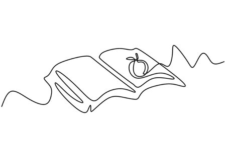Continuous one line drawing of opened book with apple. Vector education theme. 写真素材 - 135384913
