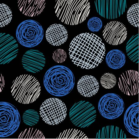 Circle abstract seamless pattern with hand drawn. Vector geometric circles for fashion illustration and textile print. 写真素材 - 135384925
