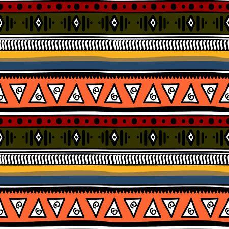 Retro-Farben Stammes- nahtlose Navajo-Muster. aztekischer abstrakter geometrischer Kunstdruck. Ethnischer Hippie-Hintergrund.